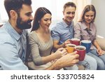 young people are drinking tea...   Shutterstock . vector #533705824