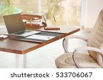 notary  workplace with laptop | Shutterstock . vector #533706067
