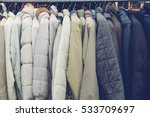 fashion winter coats hanged on... | Shutterstock . vector #533709697