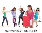 five beautiful girls over white ... | Shutterstock . vector #53371912