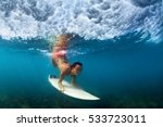 sportive girl in bikini in... | Shutterstock . vector #533723011