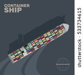 container ship in the sea cast...