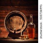 glass of whiskey  bottle and... | Shutterstock . vector #533736991