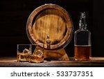 two glasses of whiskey  bottle...   Shutterstock . vector #533737351