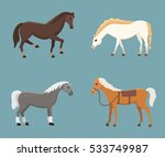 Stock vector cute horses in various poses vector design cartoon farm wild isolated horse and different 533749987