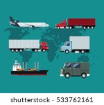 collection truck plane ship... | Shutterstock .eps vector #533762161