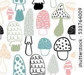 mushroom seamless pattern.... | Shutterstock .eps vector #533764009