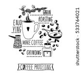 coffee making process... | Shutterstock .eps vector #533764021