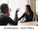 young couple arguing in a cafe. ... | Shutterstock . vector #533779861