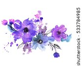 cute watercolor hand painted... | Shutterstock . vector #533784985