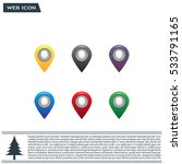 set of six round  colorful map... | Shutterstock .eps vector #533791165