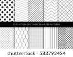 Stock vector collection of seamless geometric minimalistic patterns 533792434