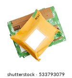 Small photo of A stack of wrapped up parcels on a white background, from above, with blank labels and green recycled parcel tape