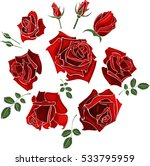 Hand Drawn Set Of Roses  Rose...