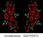 embroidery ethnic flowers neck... | Shutterstock .eps vector #533795971