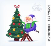 cute cartoon blue suit santa... | Shutterstock .eps vector #533796004