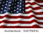 closeup of rippled american flag | Shutterstock . vector #533796931