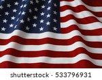 closeup of rippled american flag | Shutterstock . vector #533796931