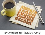 Small photo of awaken, learn, evolve, transform and become - inspirational word abstract on a napkin with a cup of tea