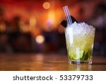 Stock photo cocktail with lime and ice in a glass 53379733
