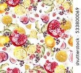 watercolor pattern with berries ... | Shutterstock . vector #533800069