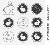 Stock vector set of black and white round icons with a rabbit bunny and titles cruelty free not tested on 533803444