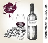 set of red wine in engraved... | Shutterstock . vector #533827285