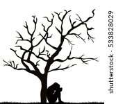 silhouette of a sad young woman ...   Shutterstock .eps vector #533828029