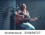 woman with guitar in recording... | Shutterstock . vector #533838727