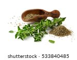 fresh sprig of oregano and dry... | Shutterstock . vector #533840485