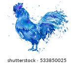 Postcard With Blue Rooster And...