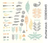 set of creative boho style... | Shutterstock .eps vector #533850445