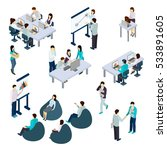 coworking people isometric set... | Shutterstock . vector #533891605