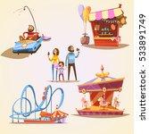 amusement park cartoon set with ... | Shutterstock . vector #533891749
