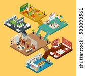 mall isometric icon set with... | Shutterstock . vector #533893561