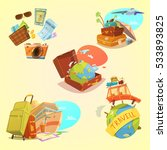 travel cartoon set with map... | Shutterstock . vector #533893825