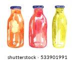 watercolor detox bottles.   Shutterstock . vector #533901991