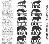 Animal Logo Set. Lion Rhino...