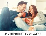 cheerful young couple in the... | Shutterstock . vector #533911549