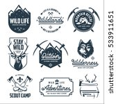 Set of outdoor wild life related labels badges emblems and design elements for t-shirt, posters, prints. Motivational lettering. Vintage typography compositions. Vector illustration. | Shutterstock vector #533911651