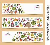 mexico colored doodle banners... | Shutterstock .eps vector #533913481