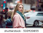 beautiful elegant woman walking ... | Shutterstock . vector #533920855