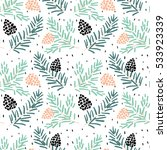 spruce branches with cones on... | Shutterstock .eps vector #533923339