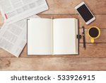 open notebook with cup of... | Shutterstock . vector #533926915
