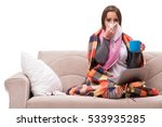 young woman drinking tea during ... | Shutterstock . vector #533935285