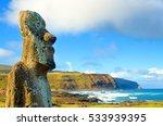 Closeup of large Moai at Ahu Tongariki on Easter Island, Chile