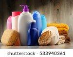 plastic bottles of body care...   Shutterstock . vector #533940361