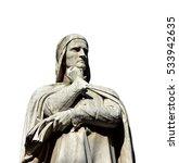 Small photo of Dante Alighieri, the greatest italian poet, monument in the center of Piazza dei Signori in Verona, made in 19th century (isolated on white background)