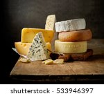 Various types of cheese on...