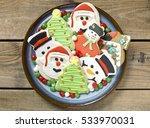 festive assorted gingerbread... | Shutterstock . vector #533970031